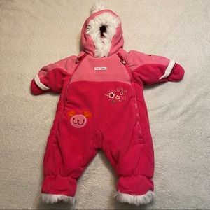 Gagou Tagou Snow Suit 1 month pink with floral embroidery white faux fur trim